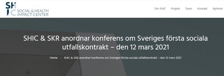 SHIC & SKR anordnar konferens om Sveriges första sociala utfallskontrakt – den 12 mars 2021