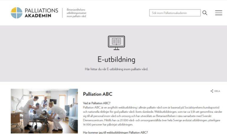 E-utbildning Här hittar du vår E-utbildning inom palliativ vård.