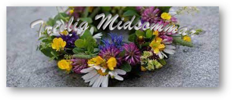 Trevlig midsommar. Blomsterkrans med midsommarhälsning