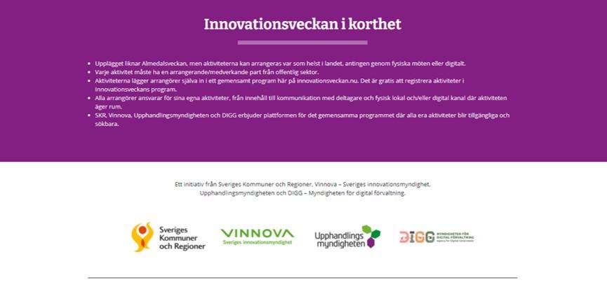 Innovationsveckan 2021 – anmälan öppen för aktiviteter