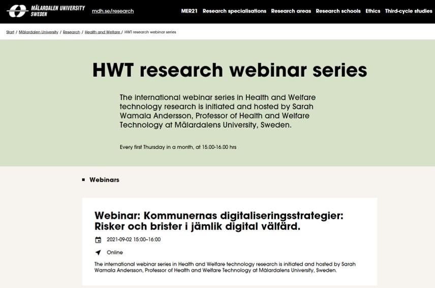 Webinar: Kommunernas digitaliserings-strategier: Risker och brister i jämlik digital välfärd. Mälardalens högskola